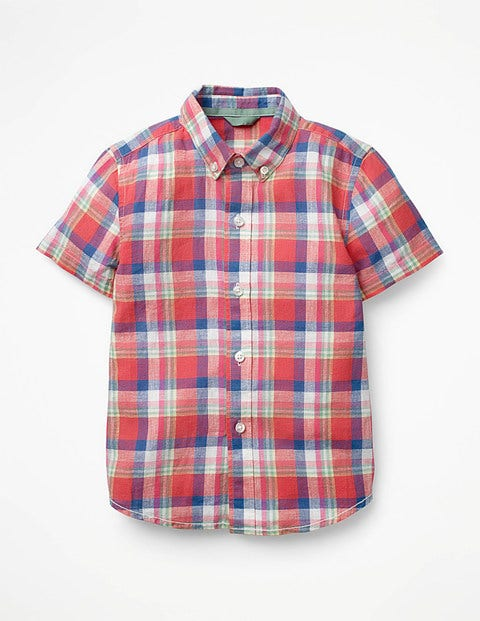 Fun Short-Sleeved Shirt - Salsa Red/Patina Green Check
