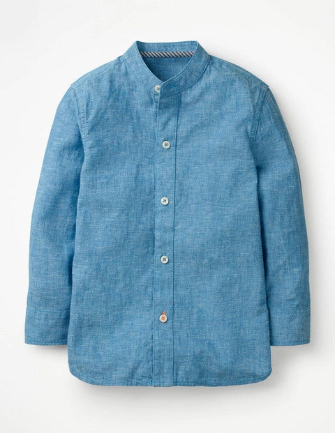 Grandad Collar Shirt - Blue Slub