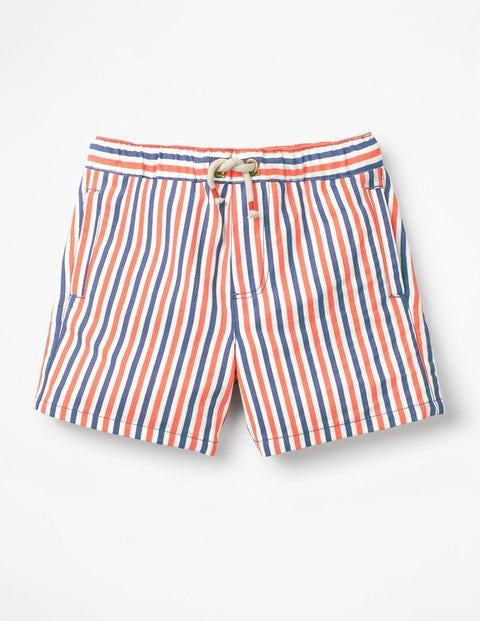 Drawstring Shorts - Orange/Blue/Ecru Seersucker