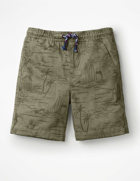 Washed Canvas Pull-On Shorts - Khaki Green Desert Beach
