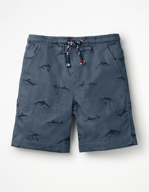 Washed Canvas Pull-On Shorts - Lagoon Blue Sharks