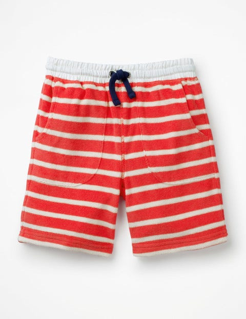 Towelling Sweatshorts - Jam Red/White