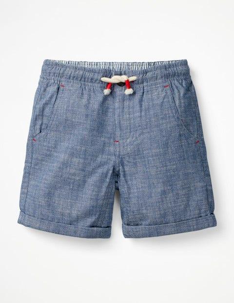 Roll-Up Shorts - Light Blue Chambray