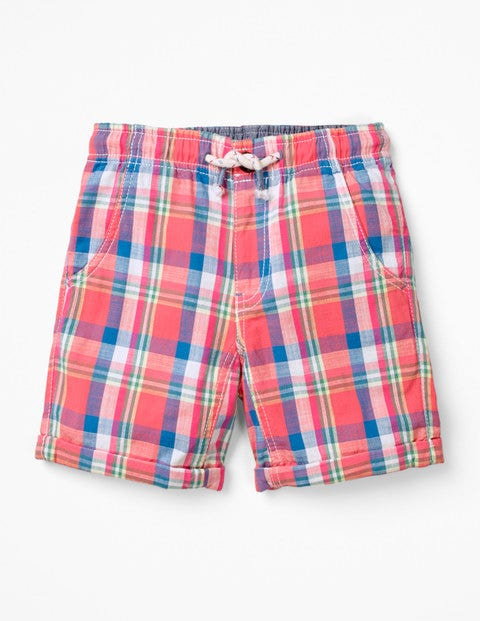 Roll-Up Shorts - Madras Red Check