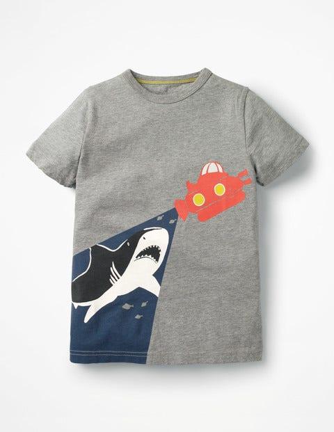 T-Shirt Phosphorescent À Motif Marin - Sous-marin gris chiné