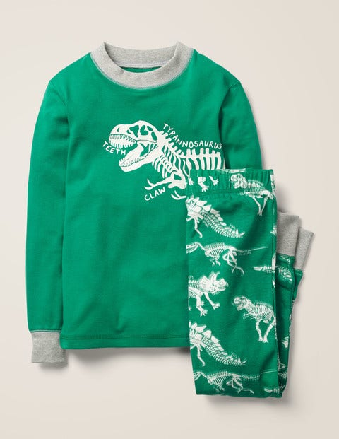 Glow-In-The-Dark Pajamas - Highland Green Dinosaurs
