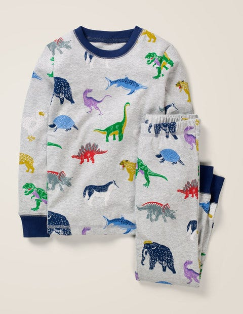 Cosy Long John Pyjamas - Grey Marl Dinosaurs