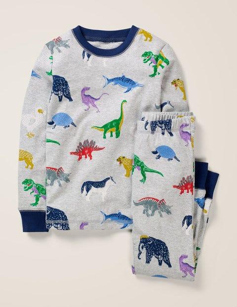Cosy Long John Pajamas - Grey Marl Dinosaurs