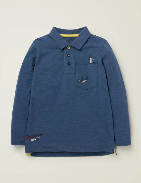 Long-Sleeved Embroidered Polo - Duke Blue Marl