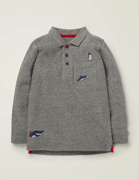 Long-Sleeved Embroidered Polo - Mid Grey Marl