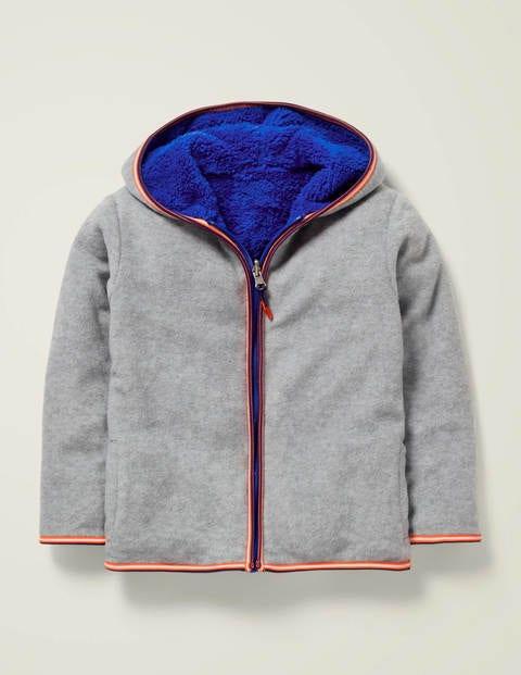 Cosy Reversible Zip-Up Hoodie - Grey Marl