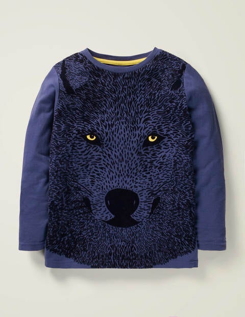 Texturiertes T-Shirt mit Wolfmotiv