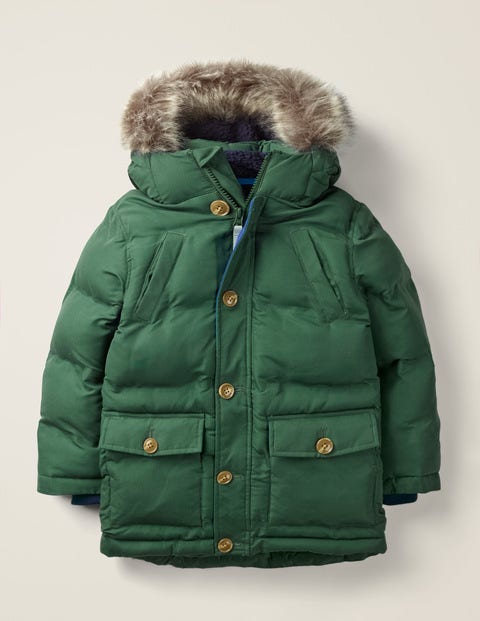 Water Resistant Puffer Parka - Country Green