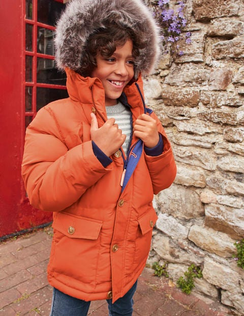 Shower Resistant Puffer Parka - Autumn Maple Orange