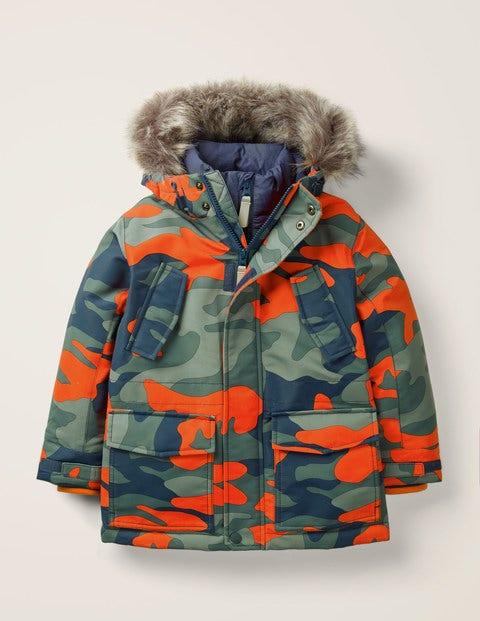 Waterproof Parka - Orange Camouflage