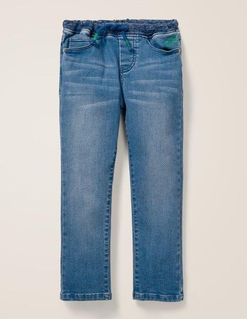 Denim Pull-On Pants - Embroidered Mid Vintage