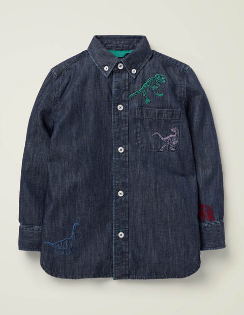 Embroidered Dinosaur Shirt - Dark Denim