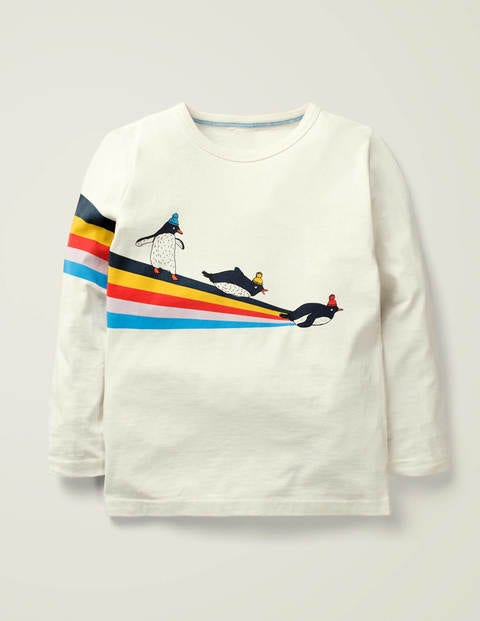Arctic Stripe T-Shirt - Ivory Penguins