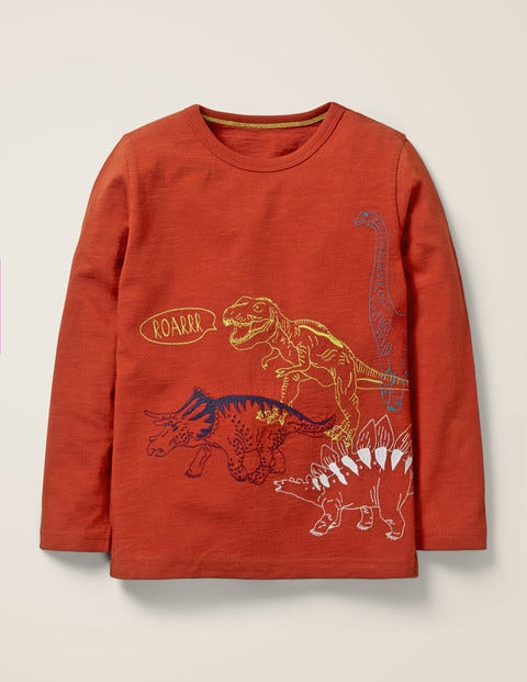 Superstitch Animal T-Shirt - Picante Brown Dinosaurs