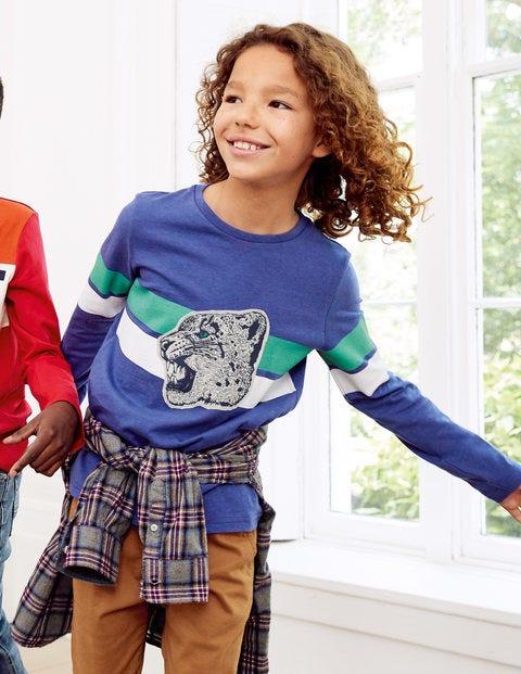 T-Shirt Mit Wilder Applikation - Segelblau, Schneeleopard