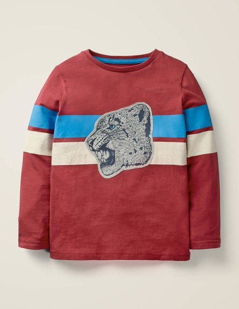 Wild Appliqué T-Shirt - Sail Red Snow Leopard