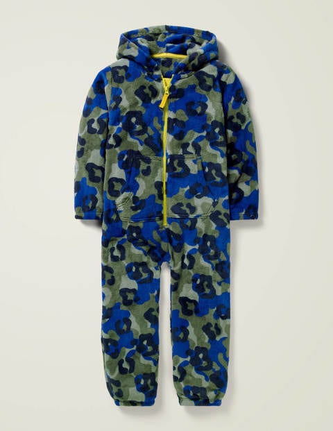 Cosy Fleece All-In-One - Khaki Green Animal Camo