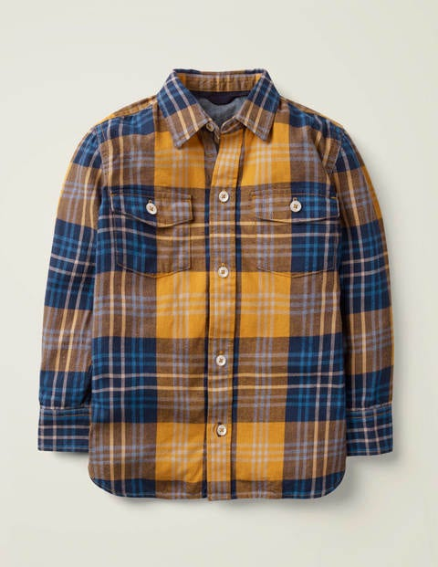 Brushed Check Shirt - Navy/ Turmeric Yellow