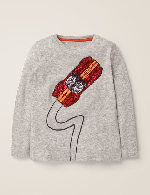 Sequin T-Shirt - Grey Marl Car