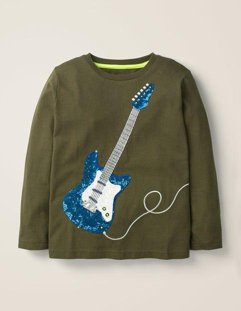 Sequin T-Shirt - Classic Khaki Green Guitar