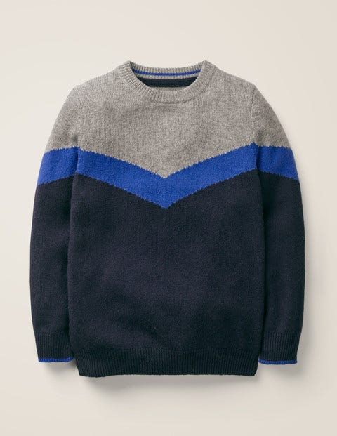 Chevron Crew Sweater - Navy