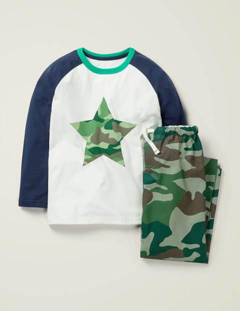 Gemusterter Raglan-Schlafanzug - Weidengrün, Camouflage