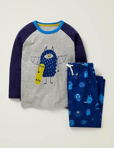 Raglan Printed Pyjama Set - College Blue Monsters