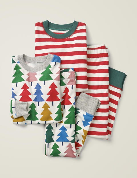 Twin Pack Long Pyjamas - Rainbow Christmas Tree