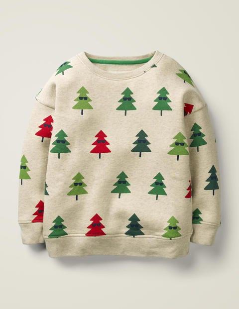 Festliches Sweatshirt - Hellbeige Meliert, Geometrische Bäume