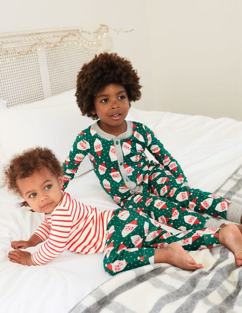 Cosy Sleep All-In-One Pyjamas - Linden Green Santa Heads