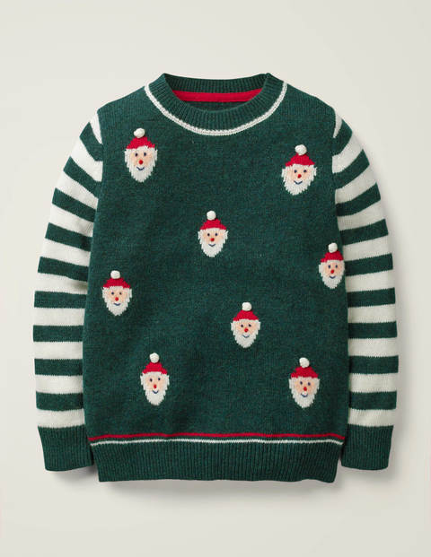 Festive Crew Sweater - Linden Green Santa