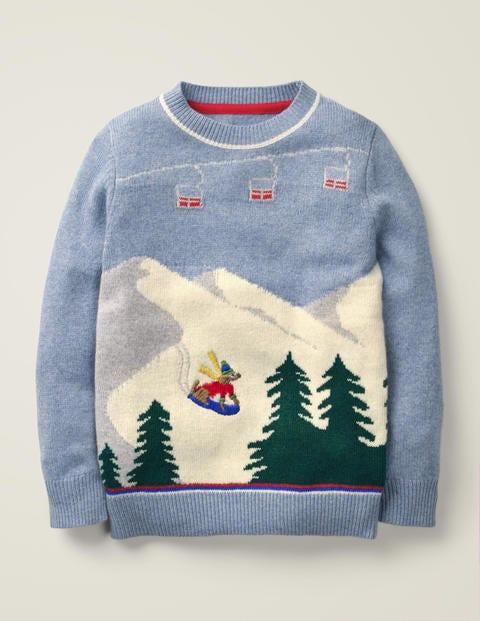 Pull col rond festif - Motif ski bleu roitelet