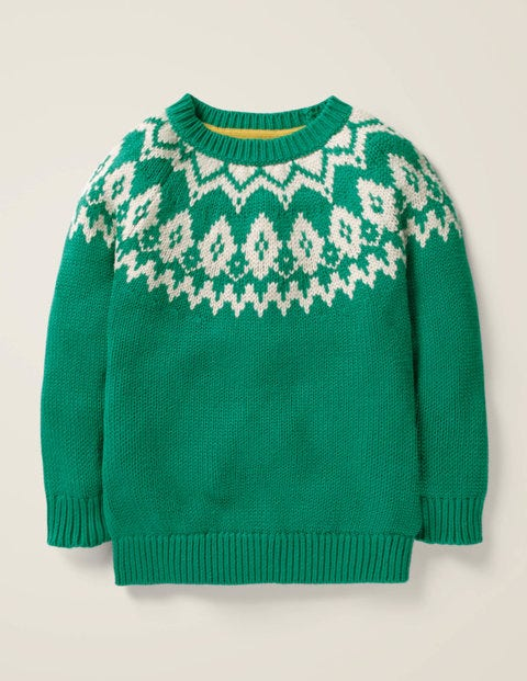 Chunky Festive Crew Sweater - Hike Green