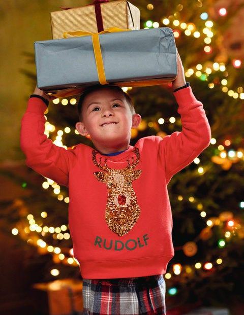 Festliches Pailletten-Sweatshirt - Paprikarot, Rudolph