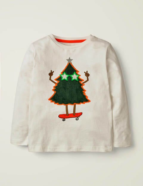 Fluffy Festive T-Shirt - Ivory Tree
