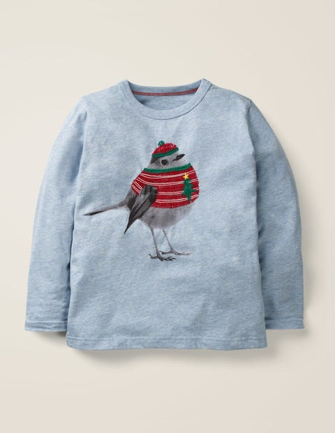 Festive Photographic T-Shirt - Light Blue Marl Robin