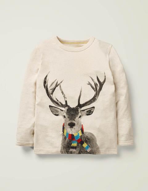 Festive Photographic T-Shirt - Oatmeal Marl Deer