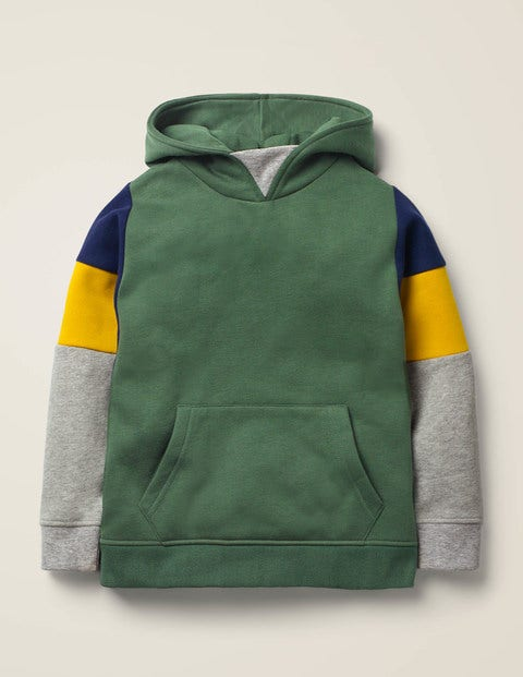 Cosy Colourblock Hoodie - Rosemary Green