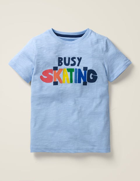 Graphic T-Shirt - Whisper Blue Busy Skating