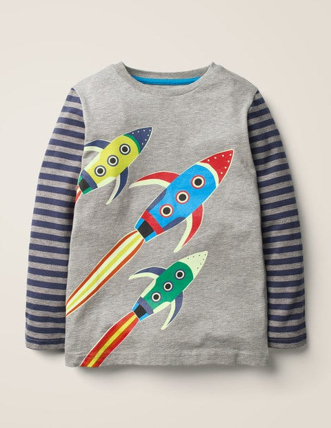 Glow-in-the-dark Space T-shirt - Mid Grey Marl Rockets