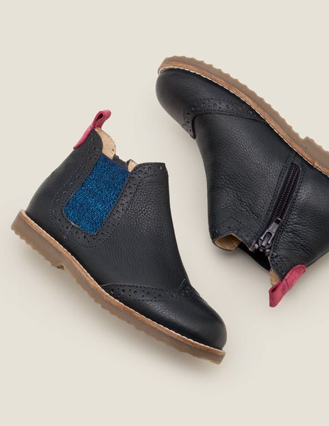 Leather Chelsea Boots - Navy Blue