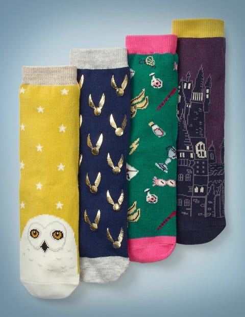 4 Pack Harry Potter Socks - Multi/Gold