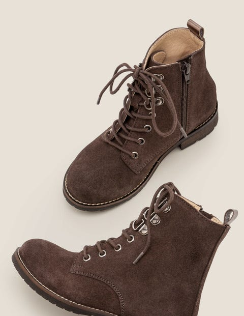 Suede Lace Up Boots - Night Owl Grey