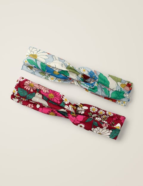 2 Pack Woven Headbands - Bramble Red Florabunda