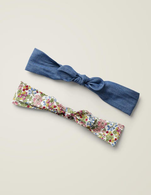 2 Pack Bow Headbands - Chalky Pink Berry Flower